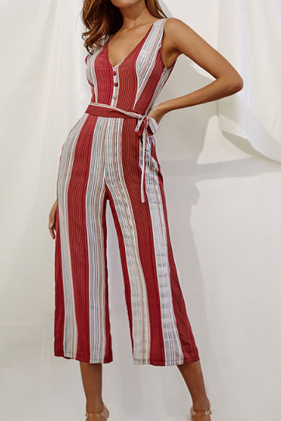 Deep V Neck  Backless  Striped  Sleeveless Jumpsuits