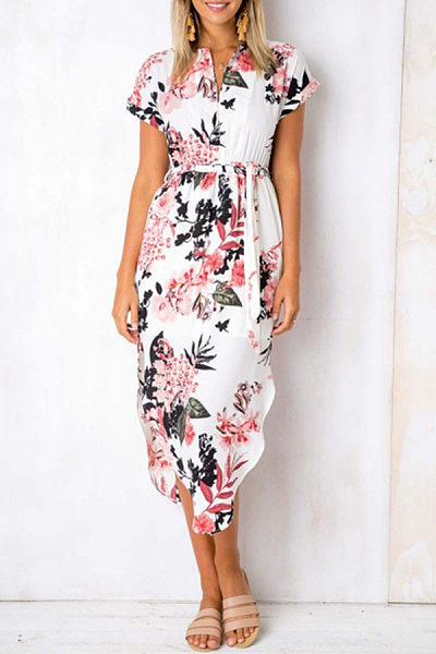 V Neck  Asymmetric Hem  Belt  Printed  Short Sleeve Maxi Dresses