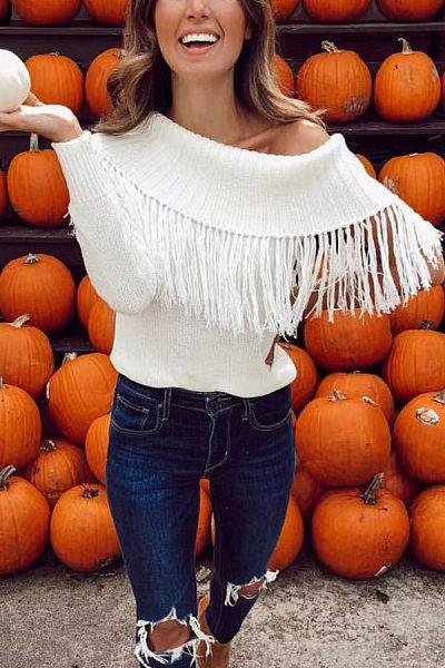 Open Shoulder  Fringe  Plain Sweaters