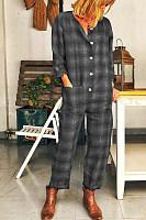 Plus Size Long Sleeve   Plaid Casual Jumpsuit