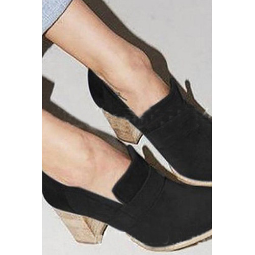 High Heeled  Chunky  Plain  Boots