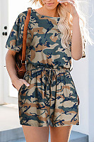 Round Neck  Camouflage  Short Sleeve  Playsuits