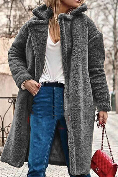 Fold Over Collar  Single Button  Plain  Teddy Outerwear