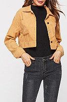 Fold Over Collar  Single Breasted  Plain Jackets