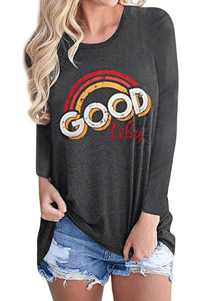 Casual Round Neck Printed Long Sleeves T-Shirt