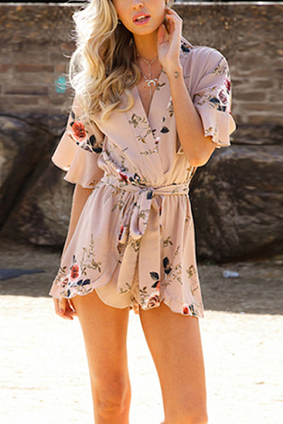 Surplice  Belt  Print  Half Sleeve  Playsuits