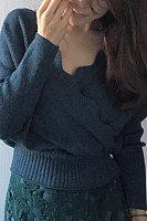 Casual V Neck Elastic Plain Sweater