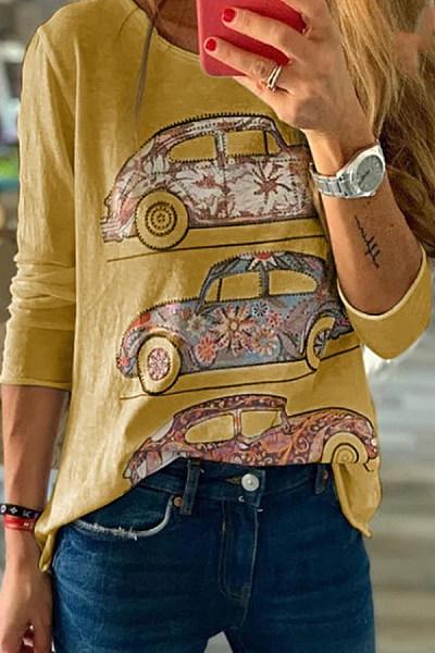 Casual Round Neck Car Print Long Sleeve T-Shirt