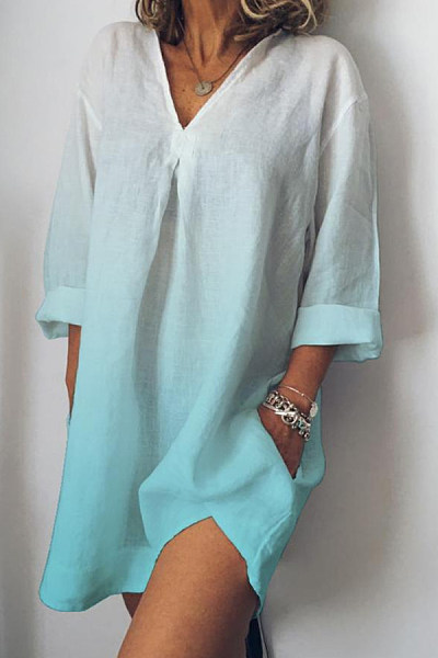 V Neck Gradient Three-Quarter Sleeve Casual Dresses