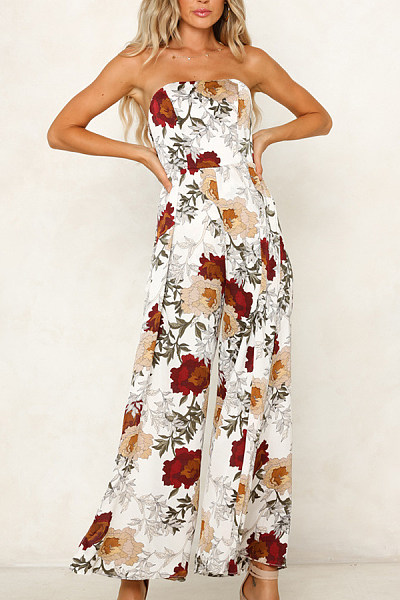 Strapless  Backless  Printed  Sleeveless Jumpsuits