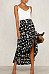 Fitted Slit Basic Printed Skirts