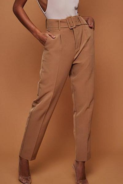 Long Fitted Belt  Plain Casual Pants