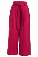 Casual Elastic Wait Plain Lace-Up Pants