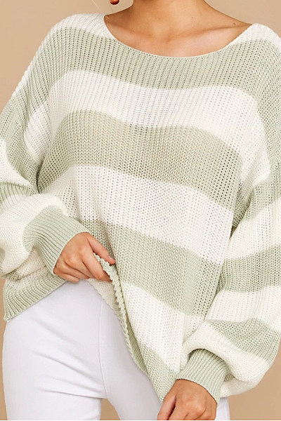 Simple Striped Round Neck Knit Sweater