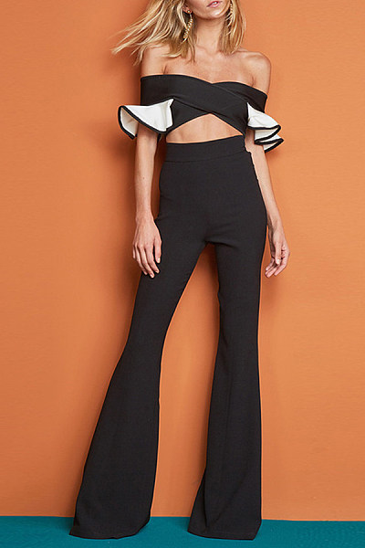 Sexy Word Collar Ruffled Zipper Slim Jumpsuits