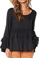 Round Neck  Flounce  Tiered  Plain  T-Shirts