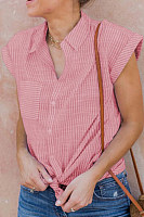 Casual Striped Knotted Short Sleeve Shirt