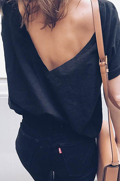 Backless  Polyester  Plain Sexy T-Shirts