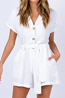 Fold Over Collar  Plain  Short Sleeve  Basic  Playsuits
