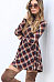 Band Collar  Plaid  Long Sleeve Casual Dresses