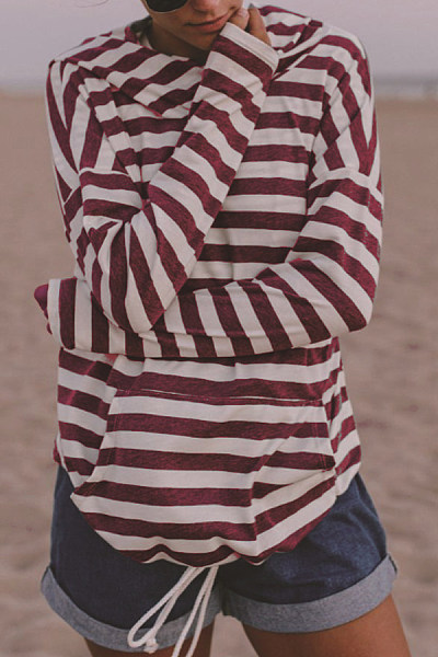 Hooded  Kangaroo Pocket  Striped Hoodies