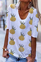 Summer Pineapple Print V-Neck Casual Short Sleeve T-Shirt