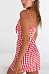 Spaghetti Strap  Cutout  Checkered  Sleeveless Bodycon Dresses