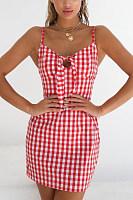 Spaghetti Strap  Cutout  Checkered  Sleeveless Bodycon Dresses