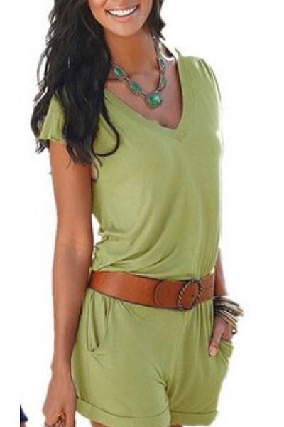 V Neck  Belt  Plain  Short Sleeve  Playsuits