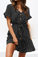 V Neck  Single Breasted  Dot  Short Sleeve Skater Dresses