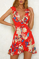Deep V Neck  Flounce  Belt  Floral Printed  Sleeveless Casual Dresses