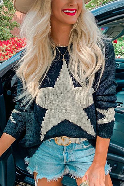 Casual Round Neck Long Sleeve Print Sweaters