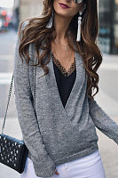 Casual Solid Color Cross V-Neck Long Sleeve Sweater