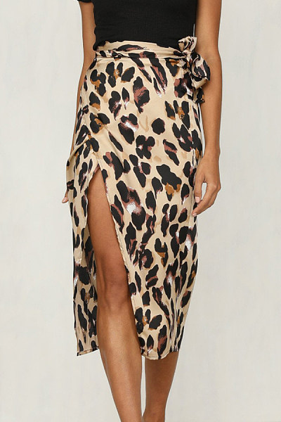 Slit  Leopard Printed  Basic Skirts