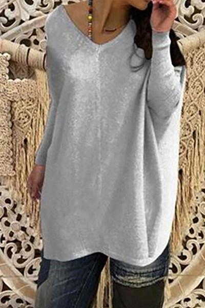 V Neck  Asymmetric Hem  Curved Hem  Plain Sweaters