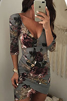 Deep V Neck  Asymmetric Hem Backless  Floral Printed  Three Quarter Sleeve Bodycon Dresses