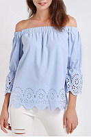 Fashion Word Collar Lace Half  Sleeve Pure Colour Blouse