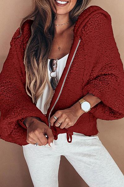 Hooded  Zipper  Plain  Basic  Outerwear