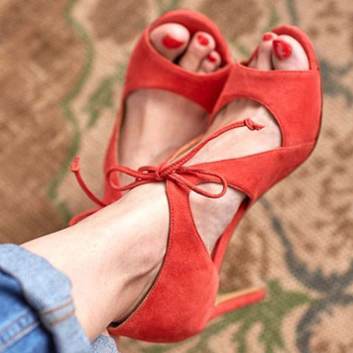 Plain  Stiletto  High Heeled  Velvet  Criss Cross  Point Toe  Date Peep-Toe Heels