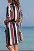 V Neck  Belt  Striped  Half Sleeve Casual Dresses
