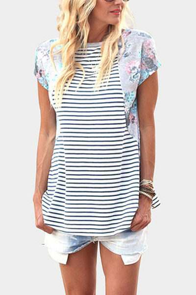 Round Neck  Floral Printed Patchwork Striped T-Shirts