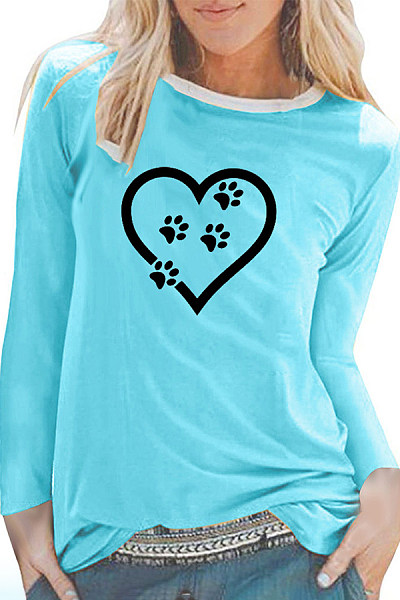 Casual White-Rimmed Round Neck Love Ankle Long-Sleeved T-Shirt