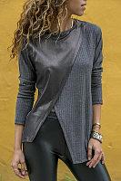 Fashion Contrast Stitching Round Neck Long Sleeve T-Shirts