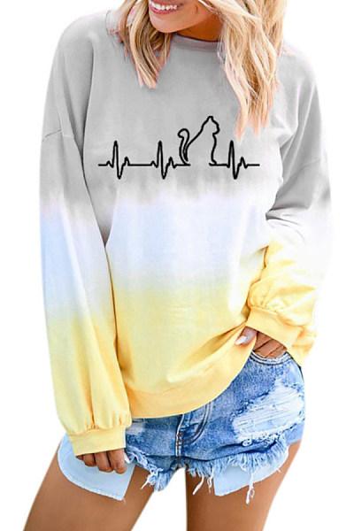 Casual Gradient Print Round Neck T-Shirt