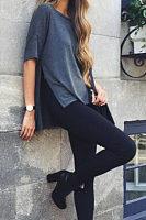 Round Neck  Asymmetric Hem Slit  Plain T-Shirts