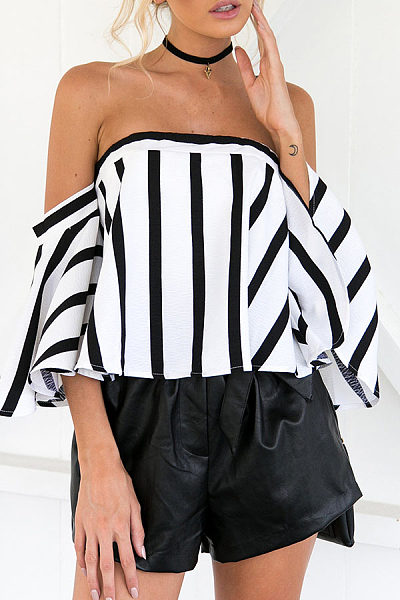 Strapless  Backless Zipper  Striped T-Shirts