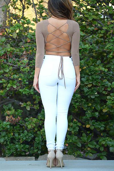 Khaki Lace-Up Back Crop Top