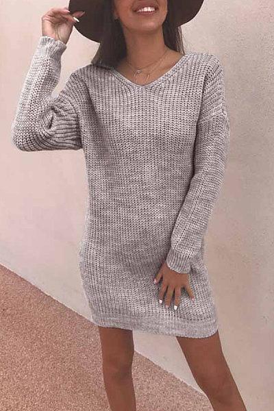 V Neck  Backless  Plain Bodycon Dresses