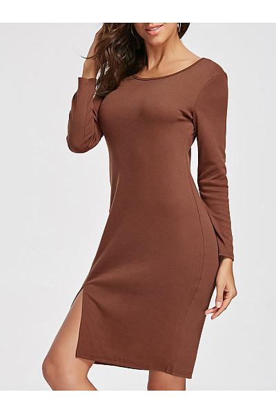 Round Neck  Slit  Plain Bodycon Dress