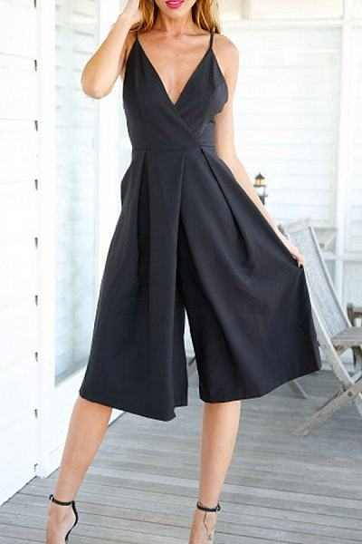 Spaghetti Strap Backless High Rise Waist Jumpsuits